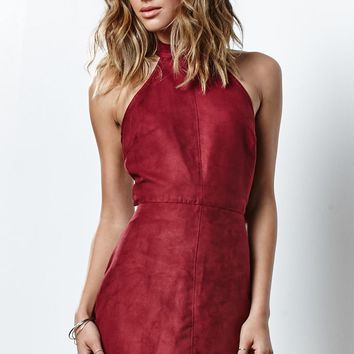 Renamed Faux Suede Halter Dress - Womens Dress - Red
