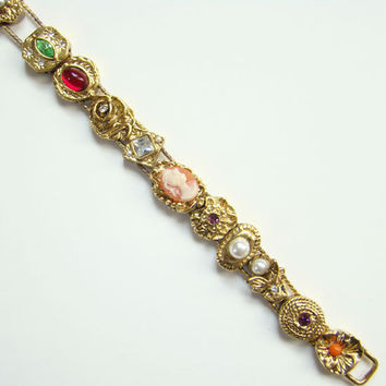ON SALE Goldette Charm Slide Bracelet with Rhinestones Cameo Fly Star Turtle Costume Jewelry Unsigned Victorian Revival