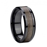 8mm Mens Exotic Wood Inlay Comfort Fit Black Ceramic Ring