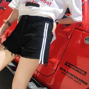 High Waist Denim Shorts for Women summer Striped Jeans Short Vintage Casual Femme Short Jeans Mujer WS306