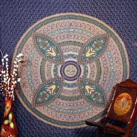Tangled Indian Blue Floral Tapestry Peculiar Block Print Convoluted Wall Hanging 86x94
