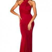 Rose Red Backless Multiway Crisscross Wrap Halter Maxi Gown