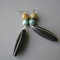 Black Long Dangle Earrings, Wire Wrapped Jade & Turquoise Jewelry, Bold Gemstone Earrings