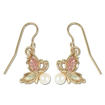 Black Hills Gold Pearl Butterfly Earrings