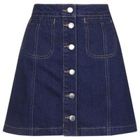 MOTO Denim Button Front Skirt - Indigo