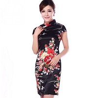 2018 Chinese Style Dress Elegant Floral Flower Print Tunic Casual Office Party Sheath Cheongsam Dress