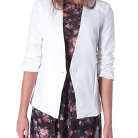 Now On Collarless Blazer - White