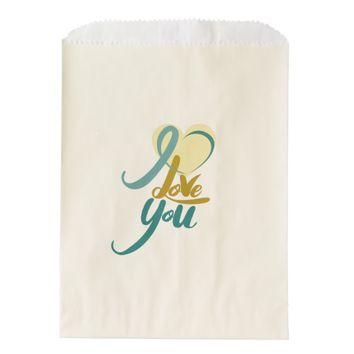 Green Yellow Valentine's Day Ecru Favor Bag
