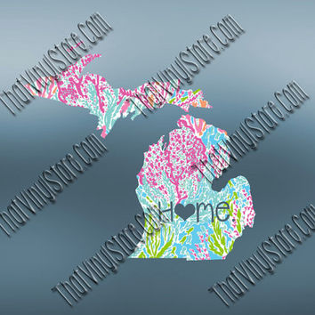 Michigan Heart Home Decal | I Love Michigan Decal | Homestate Decals | Love Sticker | Preppy State Sticker | Preppy State | 062
