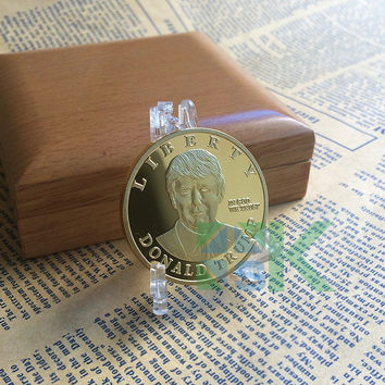 1pcs Sample order 2016 US Republican Presidential New York Candidate Trump Gold plated Metal Craft Souvenir Coin