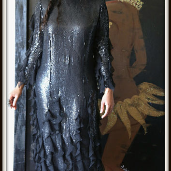 BLACK AVANT GARDE 100% Silk Vintage Sequin Goth Long Party Dress Evening Gown with Sheer Ruffles Detail