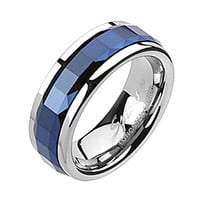Spikes Mens Tungsten Carbide Blue IP Square Faceted Spinner Ring
