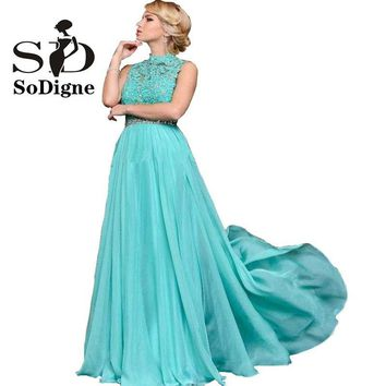 Prom Dresses Free Shipping SoDigne Plus Size Prom Dresses 2017 Turquoise Lace Appliques with Beads Rhinestones A-line Hot Sale