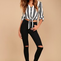 Friends Forever Black High-Waisted Distressed Skinny Jeans