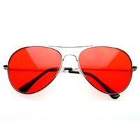 zeroUV - Colorful Premium Silver Metal Aviator Glasses with Color Lens Sunglasses
