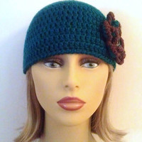 SALE - Teal and Brown Flower Hat, Womens Crochet Beanie Hat