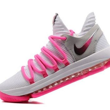 Adaptable Nike Zoom KD 10 EP White Baby Pink Kevin Durant Men's Basketball Shoes Sneakers
