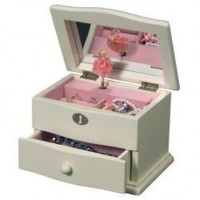 Mele & Co. Marianne Girl's Musical Ballerina Jewelry Box in Ivory