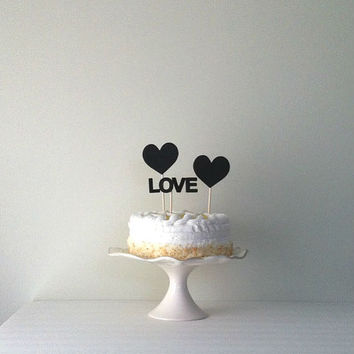 Chalkboard Hearts Wedding cake topper by Kiwi Tini Creations