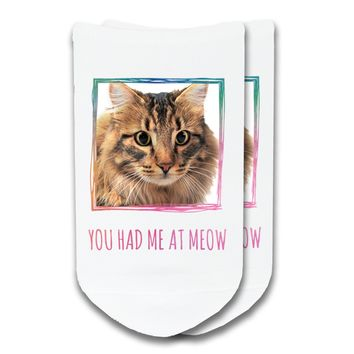 You Had Me At Meow - Custom Printed Pet Photo No-Show Socks
