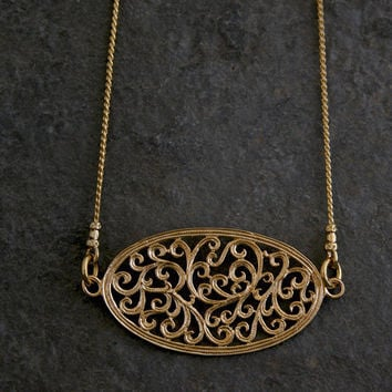 Gold Necklace ,Ethnic gold Necklace ,Gold Lace Necklace,Gold Lace Filigree Necklace,