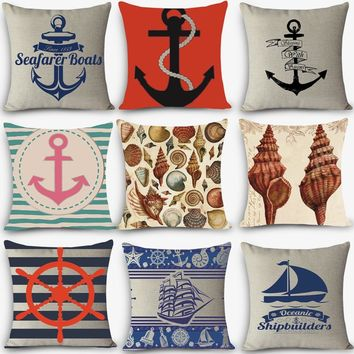 Quality print home decorative pillow Vintage Mediterranean couch pillowcase 45x45cm cotton linen cushion sailing Anchor compass