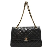 CHANEL Chain Shoulder Bag Quilted Leather Black