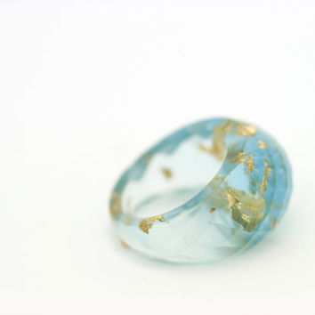 Aquamarine Gold Leaf Faceted Dome Ring, Resin Ring Gold Flakes, Glitter Eco-Resin Ring, Light Blue Aqua Ring