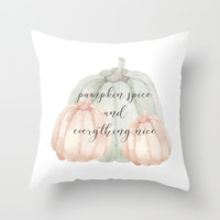 Pumpkin spice and everything nice Throw Pillow by Sylvia Cook Photography
