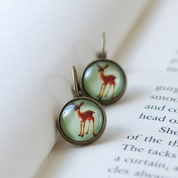 Adorable Bambi Deer Earrings. Antiqued Brass Bezel Domed Glass Bambi Deer Lever-back Earrings