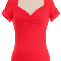 Betty Bombshell Sweater Top in Cherry Red