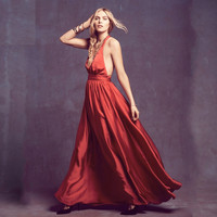 Red Halter Open-Back Maxi Dress