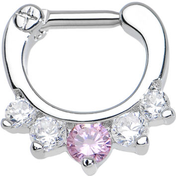 """14 Gauge 1/4"""" Five Clear and Pink Cubic Zirconia Septum Clicker 