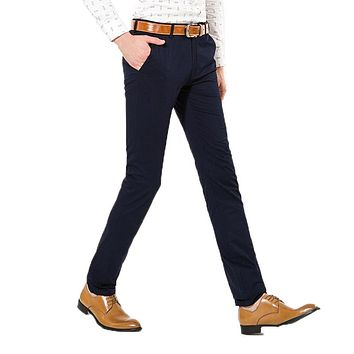 Business Casual 100% Cotton Brand Clothing Black Straight Thin Section Formal Men Pants Workwear Classic Trousers