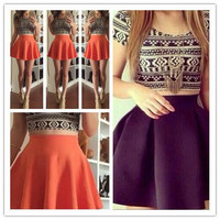 CUTE TWO PIECE GEOMETRIC DRESS