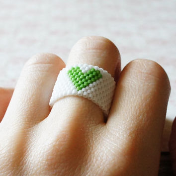 Seed Bead Ring, Peyote Ring, Heart Ring, White And Green Ring, Seed Bead Band, Toho Ring