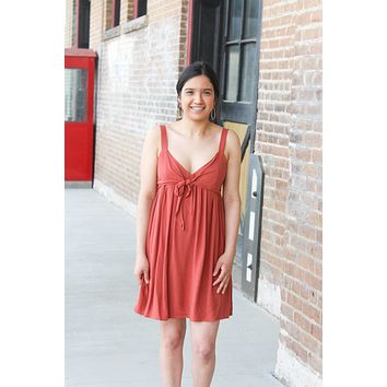 Front Tie Dress - Rust