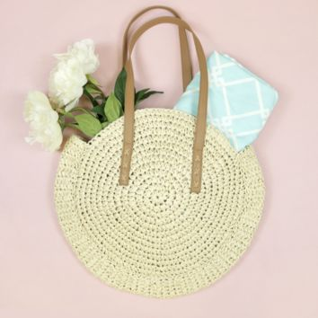 Ivory Round Straw Over The Shoulder Purse
