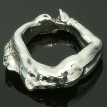 Antique silver ring nude woman wrapped around finger gemstone size 5 Art Nouveau jewelry ref.09360-4351