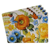Sheffield Home Protective Cork Backed Placemats, Grand Blossoms, Colorful Modern Floral (Set of 4)
