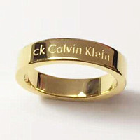 Calvin Klein CK Women Men Fashion Ring Best Gift Golden