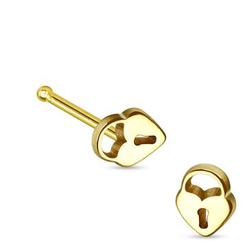 Gold Plated Heart Lock Top Nose Stud Ring