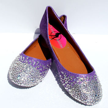 Crystal Ballet Flats: Glitter Ombre Purple