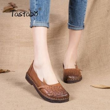Tastabo Large Size Women Shoes Female Slip On Solid Shallow Handmade Real Leather Shoe