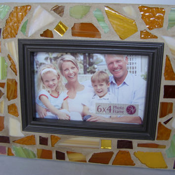 Stained Glass Mosaic Frame / 4 x 6 Frame / Earth Tones / Unisex Frame / Gold Green Frame / Mother's Father's Day / Photo Frame
