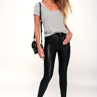 Long and Lean Black High Rise Vegan Leather Leggings