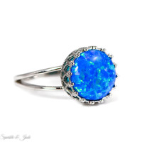 Sterling Silver Round Blue Opal Crown Ring