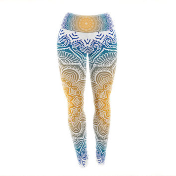Rainbow Mandala Pattern Custom Yoga Exercise Leggings