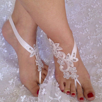 White or ivory Lace wedding barefoot sandal flexible wrist rustic Handmade embroidered sequins