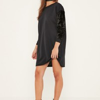 Missguided - Black Velvet Sleeve Sweater Dress